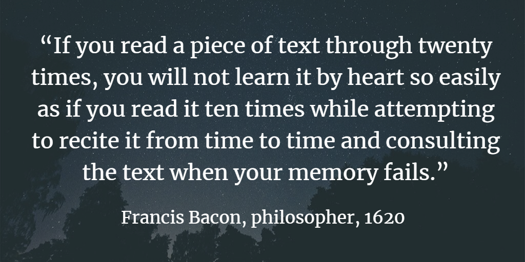 learning with testing francis bacon quote
